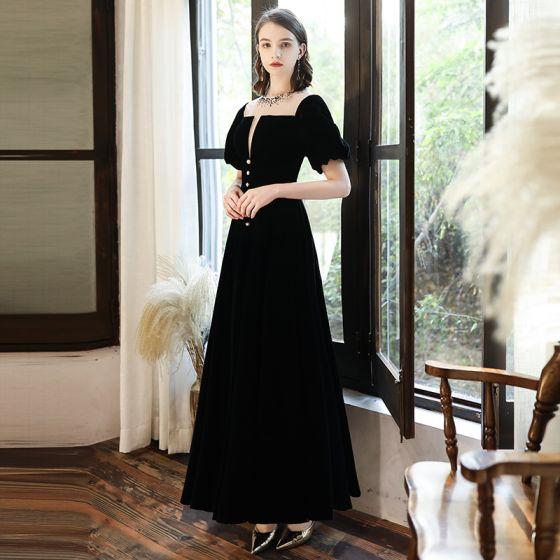 Vintage / Retro Black Homecoming Graduation Dresses 2020 A-Line / Princess Suede Scoop Neck Rhinestone Short Sleeve Backless Floor-Length / Long Formal Dresses