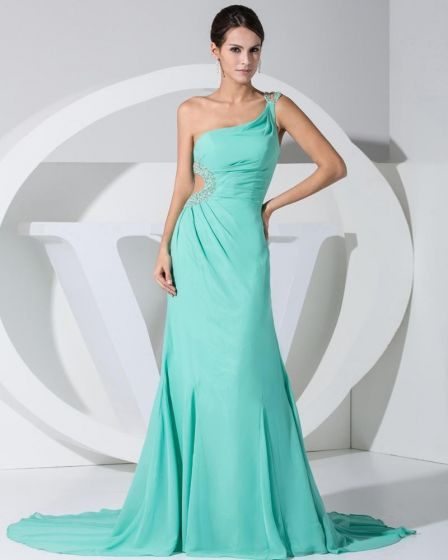 Chiffon Beading Slopping Side Zipper Ruffle Sleeveless Court Train Celebrity Dress