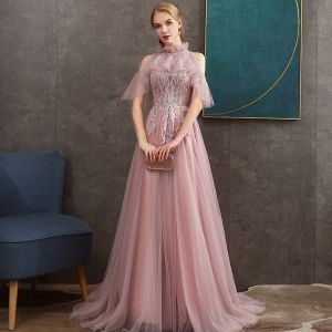 Chic / Beautiful Pearl Pink See-through Evening Dresses  2020 A-Line / Princess High Neck Short Sleeve Appliques Lace Pearl Beading Sweep Train Ruffle Backless Formal Dresses