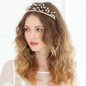 Branch Shape Crown Pearl Headdress / Golden Luxury Vintage Bridal Hair Accessories