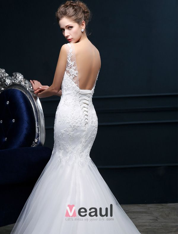 Mermaid Square Neckline Backless Lace Tulle Wedding Dress