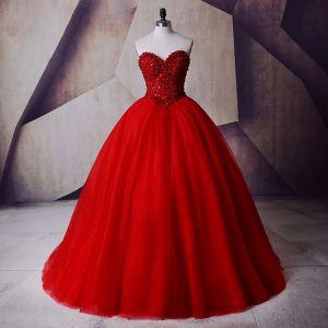 Glitzernden Rot Ballkleid Ballkleider Herz-Ausschnitt Ärmellos Perlenstickerei Perle Pailletten Lange Tülle Festliche Kleider