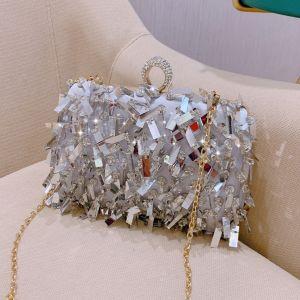 Mode Silber Lackleder Clutch Tasche 2019 Pailletten Quaste Brautaccessoires
