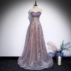 Elegant Purple Evening Dresses  2020 A-Line / Princess Sweetheart Sleeveless Appliques Sequins Glitter Tulle Sweep Train Ruffle Backless Formal Dresses