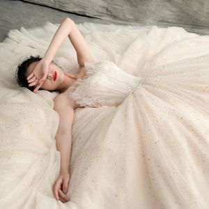 Chic / Beautiful Champagne Wedding Dresses 2018 A-Line / Princess Spaghetti Straps Sleeveless Backless Spotted Tulle Appliques Lace Floor-Length / Long Ruffle