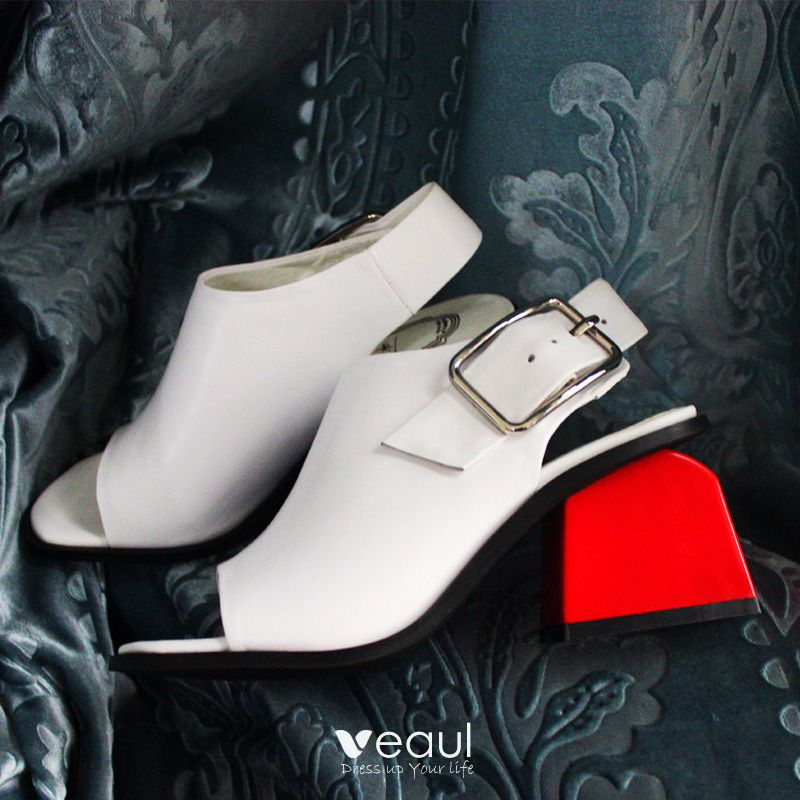 Chic / Beautiful White Womens Sandals 2017 Handmade  Leather Thick Heels Mid Heel Open / Peep Toe Sandals