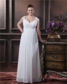 Elegant Sweetheart Floor-length Chiffon Satin Plus Size Wedding Dress