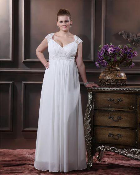 Elegant Sweetheart Floor-length Chiffon Satin Plus Size Wedding Dress