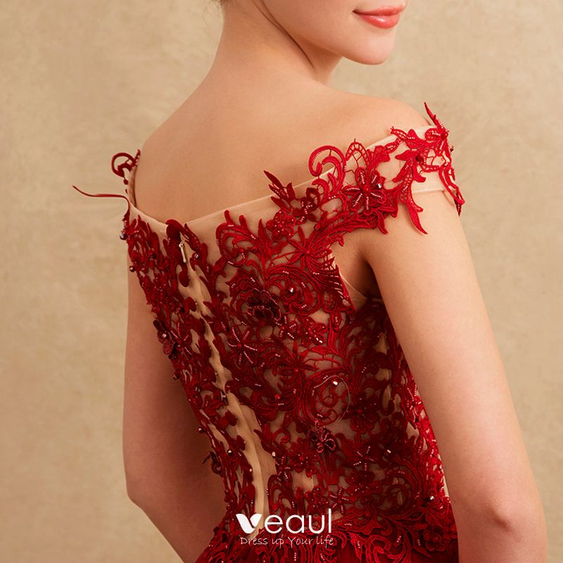 Chic / Beautiful Formal Dresses Evening Dresses  2017 Lace Beading Appliques Backless Short Sleeve Square Neckline Court Train Burgundy A-Line / Princess
