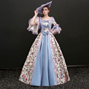 Vintage Multi-Kleuren Lange Baljurk Galajurken 2018 Lace-up U-hals Ruglooze Het Drukken Charmeuse Gala Gelegenheid Jurken