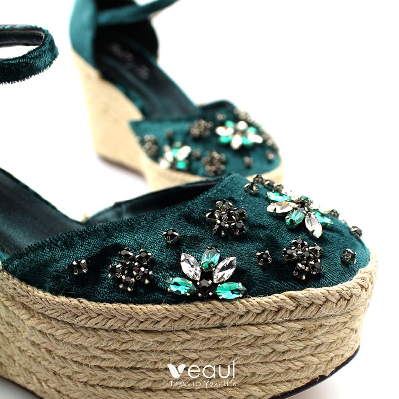 Chic / Beautiful Dark Green Casual Womens Sandals 2019 Leather Ankle Strap Crystal Rhinestone 9 cm Wedges Round Toe Sandals