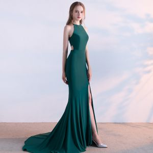 Classic 2017 Clover Green Evening Dresses  Spaghetti Straps Striped Backless Trumpet / Mermaid Party Dresses