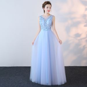 Chic / Beautiful Sky Blue Evening Dresses  2017 A-Line / Princess V-Neck Organza Appliques Backless Beading Evening Party Formal Dresses