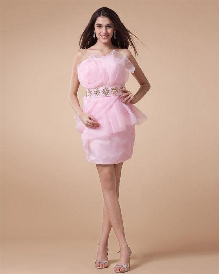 Linke Kwiat Bez Ramiaczek Backless Mini Długosc Rekawow Kobieta Organzy Tanie Sukienki Koktajlowe Sukienki Wizytowe