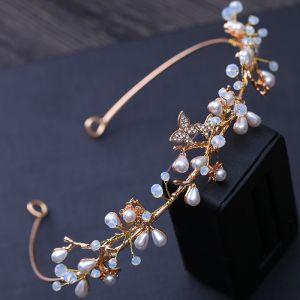Enkel Guld Bryllup Hårpynt 2018 Metal Perle Rhinestone Krystal Accessories