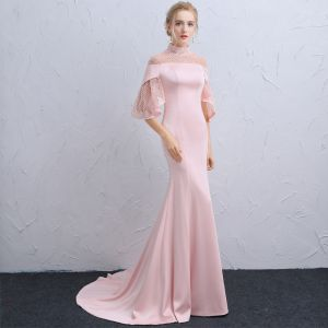 Vintage Candy Pink See-through Evening Dresses  2018 Trumpet / Mermaid High Neck 3/4 Sleeve Beading Court Train Ruffle Backless Formal Dresses