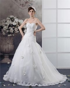 Sweetheart Floor Length Applique Beading Pleated Yarn Ball Gown Wedding Dress