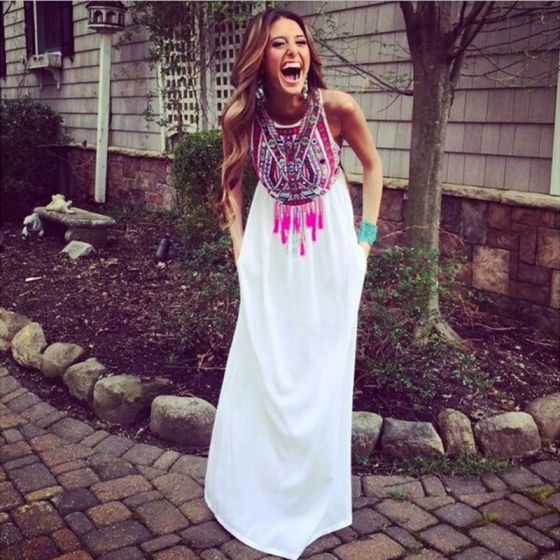 Bohemia Summer White Maxi Dresses 2018 Empire Scoop Neck Sleeveless Printing Flower Tassel Floor-Length / Long Womens Clothing