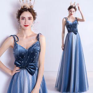 Schöne Meeresblau Abendkleider 2020 A Linie Spaghettiträger Glanz Perlenstickerei Wildleder Ärmellos Rückenfreies Lange Festliche Kleider