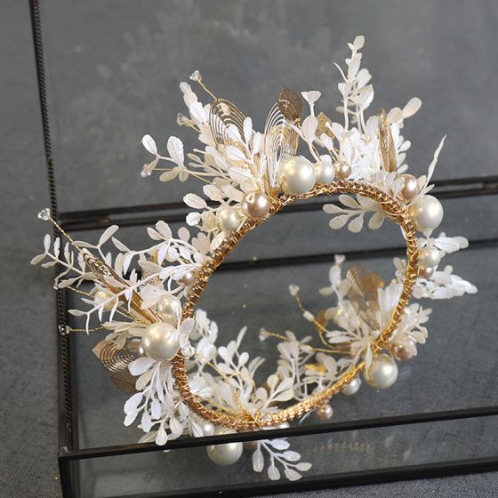 Chic / Beautiful Gold Tiara Earrings Bridal Jewelry 2020 Alloy Pearl Rhinestone Leaf Wedding Accessories