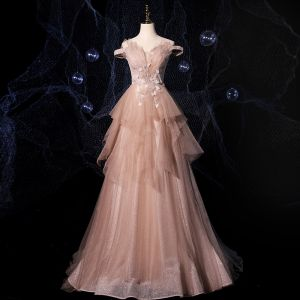 Fashion Champagne Prom Dresses 2021 A-Line / Princess Off-The-Shoulder Short Sleeve Appliques Lace Beading Glitter Tulle Sweep Train Ruffle Backless Formal Dresses