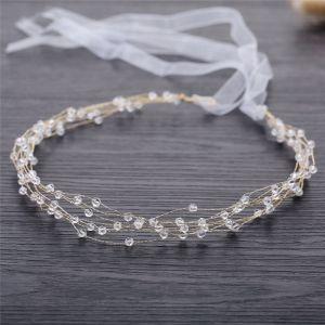 Elegante Gold Hochzeit Stirnbänder Haarschmuck Braut  2019 Metall Schnüren Kristall Kopfschmuck