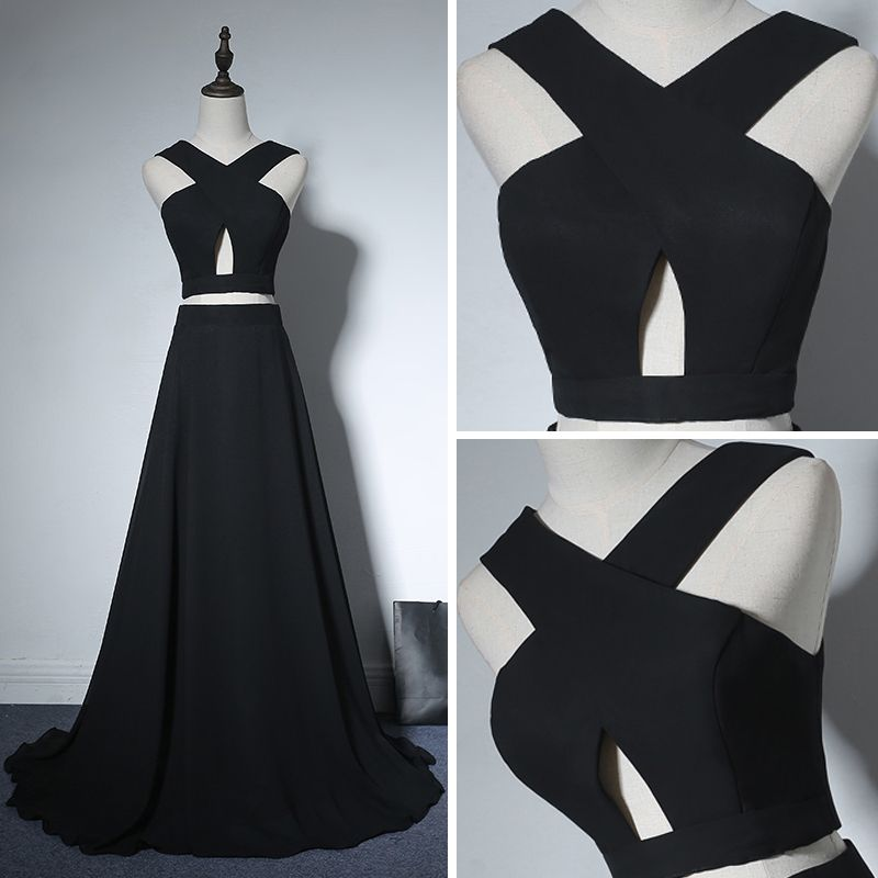 2 Piece Evening Party Formal Dresses 2017 Evening Dresses  Black A-Line / Princess Sweep Train Backless V-Neck Sleeveless