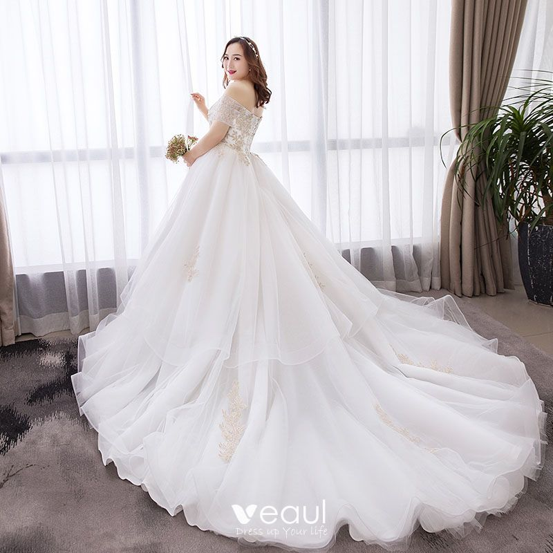 Beautiful Wedding Ball Gowns: Chic / Beautiful White Ball Gown Plus Size Wedding Dresses