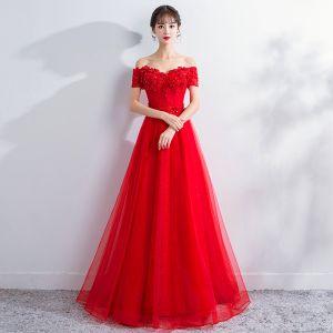 Schöne Rot Ballkleider 2018 A Linie Mit Spitze Blumen Kristall Perlenstickerei Off Shoulder Ärmellos Lange Festliche Kleider