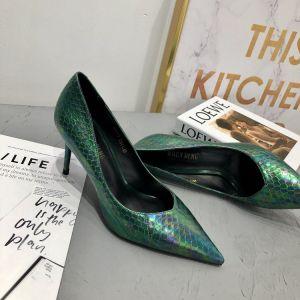 Classy Dark Green Rave Club Leather Pumps 2020 Snakeskin Print 7 cm Stiletto Heels Pointed Toe Pumps