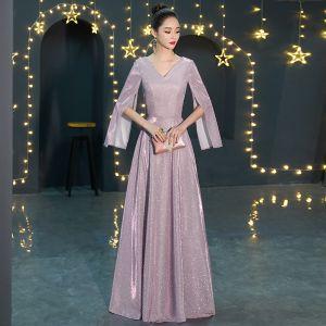 Affordable Lavender Evening Dresses  2019 A-Line / Princess V-Neck Long Sleeve Glitter Polyester Floor-Length / Long Ruffle Backless Formal Dresses