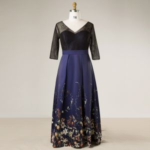 Flower Fairy Navy Blue Plus Size Evening Dresses  2018 V-Neck Charmeuse A-Line / Princess Lace-up Backless Printing Evening Party Prom Dresses