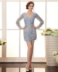 Stylowe Aplikacje Zroszony Szyi Material Satyna Organzy Tanie Sukienki Koktajlowe Sukienki Wizytowe