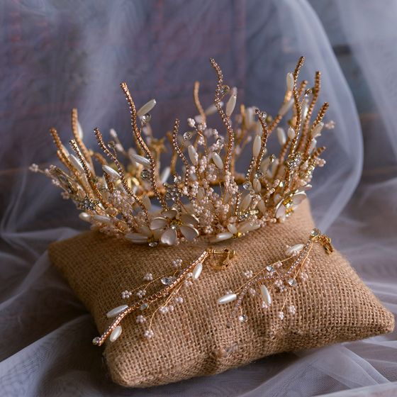 Luxury / Gorgeous Gold Bridal Jewelry 2019 Metal Beading Pearl Rhinestone Tiara Earrings Wedding Accessories
