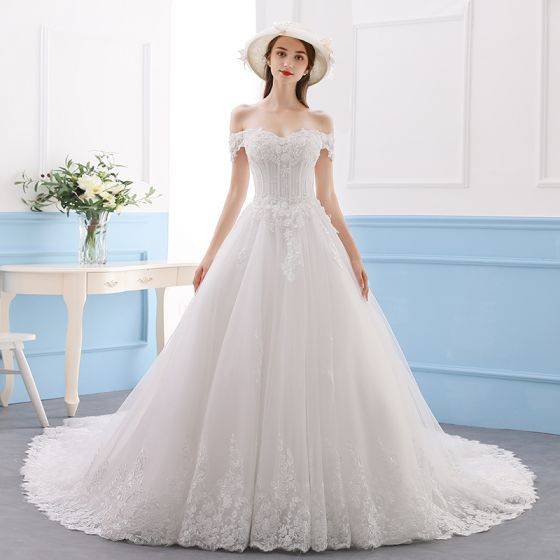 Elegant Ivory Wedding Dresses 2019 A-Line / Princess Lace Flower Crystal Sequins Off-The-Shoulder Short Sleeve Backless Cathedral Train