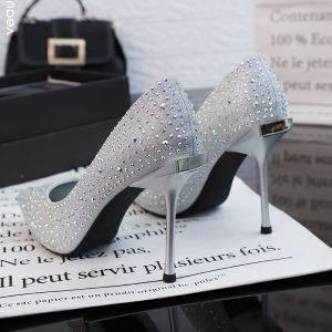 Błyszczące Srebrny Buty Ślubne 2019 Cekiny Rhinestone 10 cm Szpilki Szpiczaste Ślub Czółenka