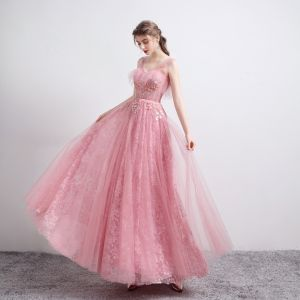 Mode Pink Ballkleider 2021 A Linie Durchsichtige V-Ausschnitt Ärmellos Applikationen Pailletten Perlenstickerei Lange Rüschen Rückenfreies Festliche Kleider