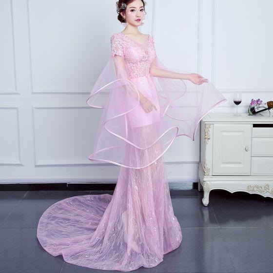 Schöne Pink Abendkleider 2017 Empire V-Ausschnitt Spitze Knöchelriemen Rückenfreies Durchbohrt Abend Unique Festliche Kleider