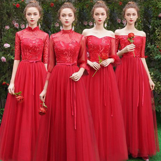 Asequible Rojo Vestidos De Damas De Honor 2019 A-Line / Princess Cinturón Apliques Con Encaje Largos Ruffle Sin Espalda Vestidos para bodas