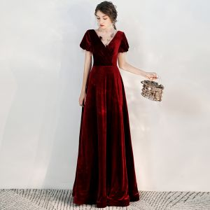 Chic / Beautiful Burgundy Suede Evening Dresses  2020 A-Line / Princess See-through High Neck Puffy Short Sleeve Beading Floor-Length / Long Ruffle Backless Formal Dresses