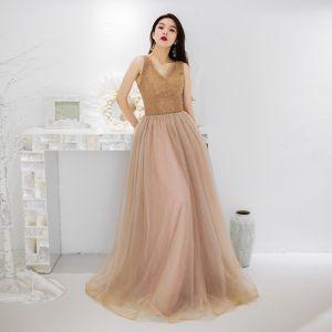 Charming Gold Evening Dresses  2019 A-Line / Princess V-Neck Beading Sequins Lace Flower Sleeveless Backless Floor-Length / Long Formal Dresses