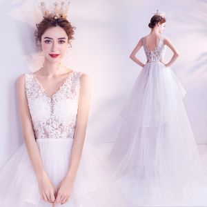 Affordable White Wedding Dresses 2020 A-Line / Princess V-Neck Lace Flower Sleeveless Backless Cascading Ruffles Sweep Train