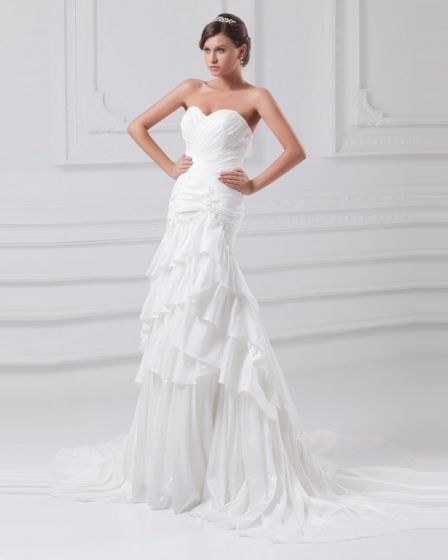 Taffeta Flower Applique Sequins Sweetheart Court Train Tiered Sheath Wedding Dress