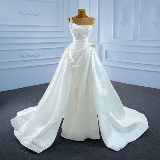 High Low Elegant Ivory Satin Pearl Wedding Dresses 2021 A-Line / Princess Scoop Neck Beading Sequins Sleeveless Backless Court Train Wedding
