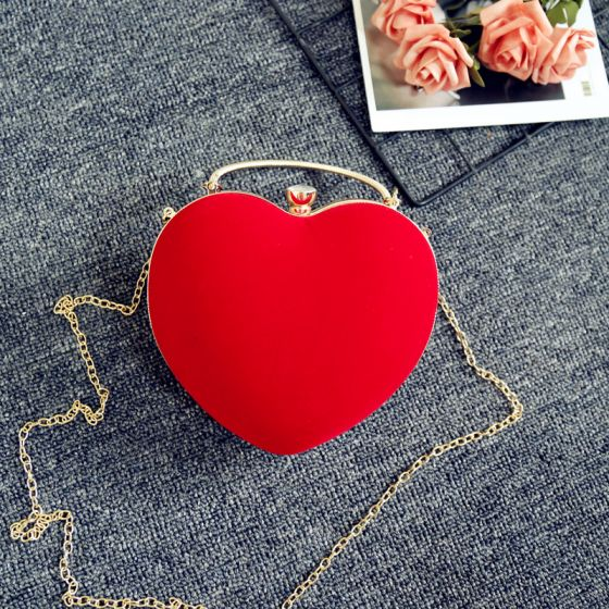 Amazing / Unique Red Suede Heart-shaped Metal Clutch Bags 2018