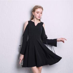 Chic / Beautiful Black Homecoming Graduation Dresses 2020 A-Line / Princess V-Neck 3/4 Sleeve Short Formal Dresses