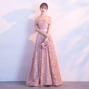 Schöne Perle Rosa Abendkleider 2017 A Linie Spitze Metall Stoffgürtel V-Ausschnitt Rückenfreies Kurze Ärmel Knöchellänge Festliche Kleider