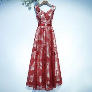 Schöne Rot Festliche Kleider Abendkleider 2017 Mit Spitze Blumen Schleife Rückenfreies V-Ausschnitt Ärmellos A Linie Kniehohe Knöchellänge