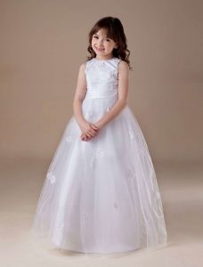 Douce Tulle Blanc Doux Robe Ceremonie Fille Robe Fille Mariage