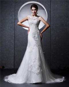 Satin Tulle Beaded Applique Ruffle High Neck Chapel Mermaid Bridal Gown Wedding Dresses